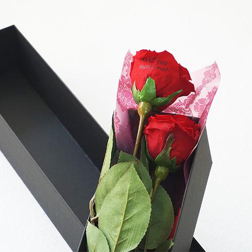【バラ二輪ペア】プリザーブドフラワーLOVEローズ(専用バッグ付き) ≪レッド≫