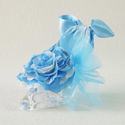 【メッセージローズ】シンデレラの靴 大輪プリザーブドフラワーアレンジ≪ブルー≫