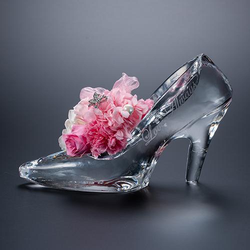 名入れ彫刻 シンデレラの靴 クリスタルガラス プリンセスアレンジ プリザーブドフラワー≪ピンク≫