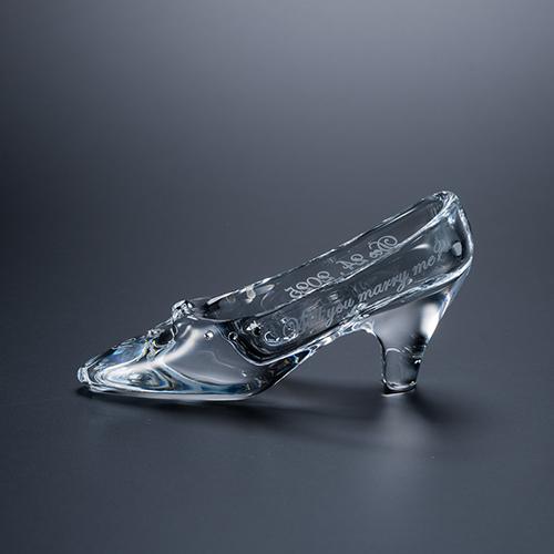 名入れ彫刻 スモール シンデレラの靴 クリスタルガラス