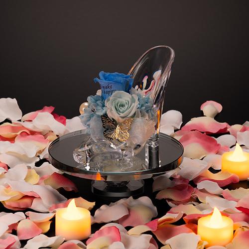 【プロポーズ】シンデレラの靴 プリンセスアレンジ(アクリル製)プリザーブドフラワー≪ブルー≫