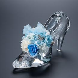 名入れ彫刻 シンデレラの靴 クリスタルガラス プリンセスアレンジ プリザーブドフラワー≪ブルー≫