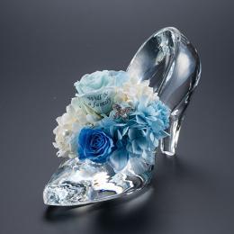 花に名入れ シンデレラの靴 クリスタルガラス メッセージ プリザーブドフラワー≪プリンセスブルー≫