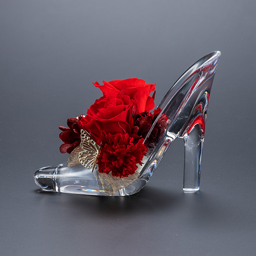 【プロポーズ】シンデレラの靴 プリンセスアレンジ(アクリル製)プリザーブドフラワー≪レッド≫