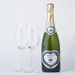 シャンパン(ブラン・ド・ブラン)+RIEDELペアシャンパングラス(名入れ彫刻付き)
