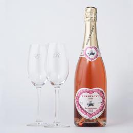 シャンパン(ロゼ)+RIEDELペアシャンパングラス(名入れ彫刻付き)