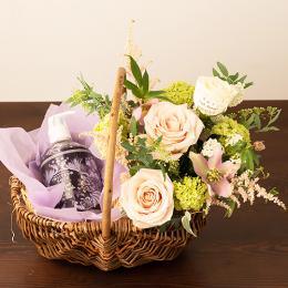 【花に記念日プリント】スキンケアセットと季節のアレンジメント(ピンク系)