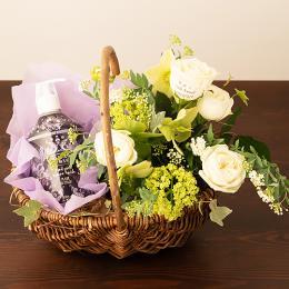【花に記念日プリント】スキンケアセットと季節のアレンジメント(ホワイト系)