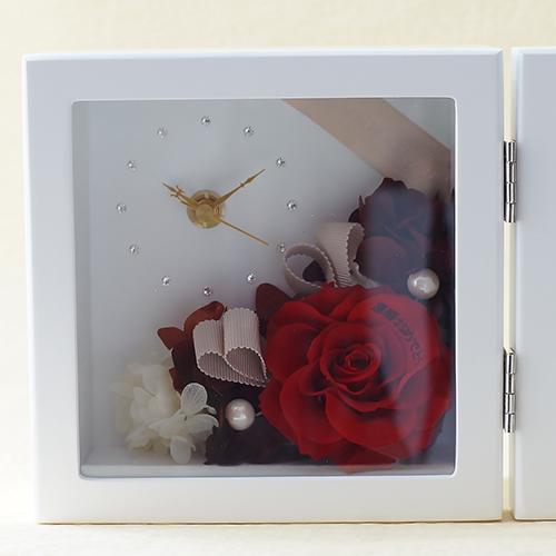 【花に記念日プリント】ピクチャークロックスタンド&プリザーブドフラワー≪レッド≫