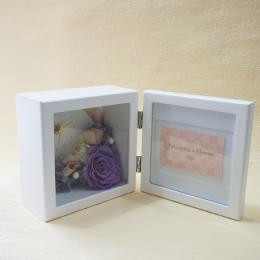 【花に記念日プリント】ピクチャークロックスタンド&プリザーブドフラワー≪ヴァイオレット≫ 紫のバラ