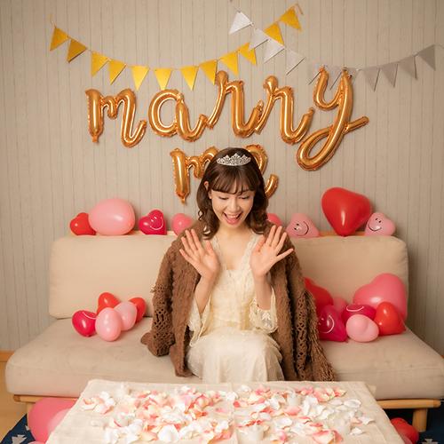 ハートバルーン装飾セット & MARRY ME(結婚してください)