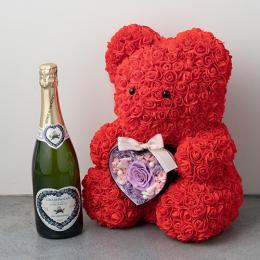 幸せを呼ぶテディベアハートアレンジメント(ヴァイオレット)とシャンパン(ブラン・ド・ブラン)