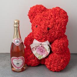 幸せを呼ぶテディベアハートアレンジメント(ピンク)とシャンパン(ロゼ)