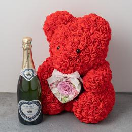幸せを呼ぶテディベアハートアレンジメント(ピンク)とシャンパン(ブラン・ド・ブラン)