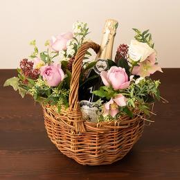 【花に記念日プリント】季節のアレンジメント(ピンク系)+シャンパン(ブランド・ブラン)