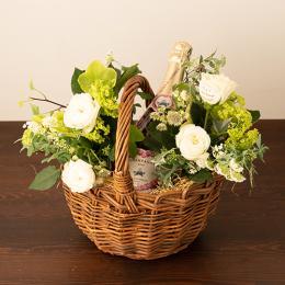 【花に記念日プリント】季節のアレンジメント(ホワイト系)+シャンパン(ロゼ)