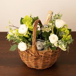 【花に記念日プリント】季節のアレンジメント(ホワイト系)+シャンパン(ブラン・ド・ブラン)