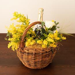 【花に記念日プリント】季節のアレンジメント(みもざシーズナブル)+シャンパン(ブランド・ブラン)