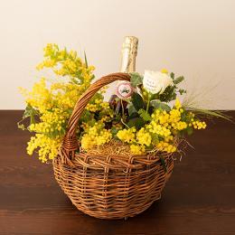 【花に記念日プリント】季節のアレンジメント(みもざシーズナブル1月~3月)+シャンパン(ロゼ)