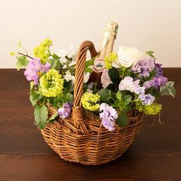 【花に記念日プリント】季節のアレンジメント(ビオラシーズナブル1月~3月)+シャンパン(ロゼ)
