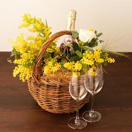 季節のアレンジメント(みもざシーズナブル1月~3月)+シャンパン(ロゼ)+彫刻ぺアグラス