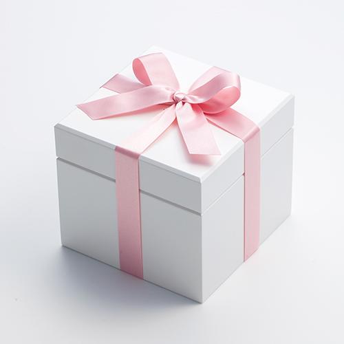 高級ホワイトオルゴールBOX お花イッパイ!プリザーブドフラワー≪ピーチ≫