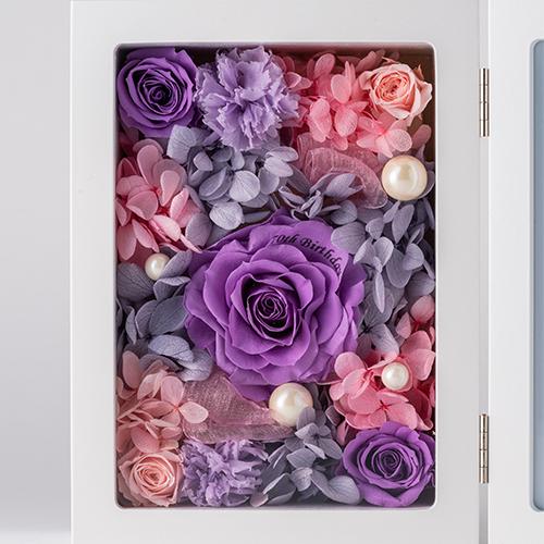 【花に記念日プリント】フォトフレーム&プリザーブドフラワー L ≪ヴァイオレット≫ 紫のバラ
