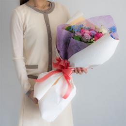 【花に記念日プリント】季節のブーケ ヴァイオレット Lサイズ 紫のバラ