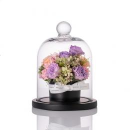 【花に記念日プリント】フラワードームアレンジメント ヴァイオレット S 紫のバラ