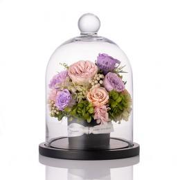 【花に記念日プリント】フラワーアレンジメント ヴァイオレット M 紫のバラ