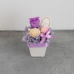 【花に記念日プリント】パステルプリザーブドフラワーアレンジ S ≪ヴァイオレット≫ 紫のバラ