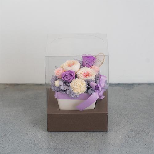 【花に記念日プリント】パステルプリザーブドフラワーアレンジ L ≪ヴァイオレット≫ 紫のバラ