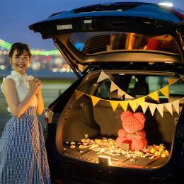 【車でサプライズ】幸せを呼ぶローズテディベア レッド + 装飾セット