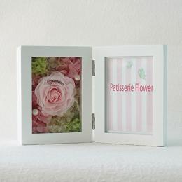 【花に記念日プリント】フォトフレーム&プリザーブドフラワー S ≪ピーチ≫