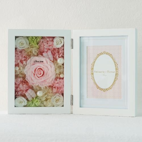 【花に記念日プリント】フォトフレーム&プリザーブドフラワー L ≪ピーチ≫