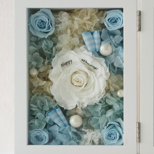 【花に記念日プリント】フォトフレーム&プリザーブドフラワー L ≪ソーダ≫