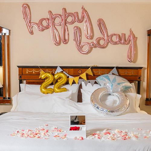 【ホテルでプロポーズ】Special高級オルゴールジュエリーBOX ≪Dレッド≫+フラッグ装飾セット