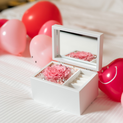 【ホテルでプロポーズ】Special高級オルゴールジュエリーBOX ≪Dピンク≫+フラッグ装飾セット