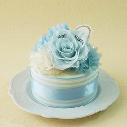 【メッセージローズ】ホールケーキ&プリザーブドフラワー≪ブルー≫