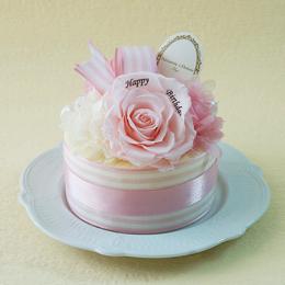 【メッセージローズ】ホールケーキ&プリザーブドフラワー≪ピンク≫