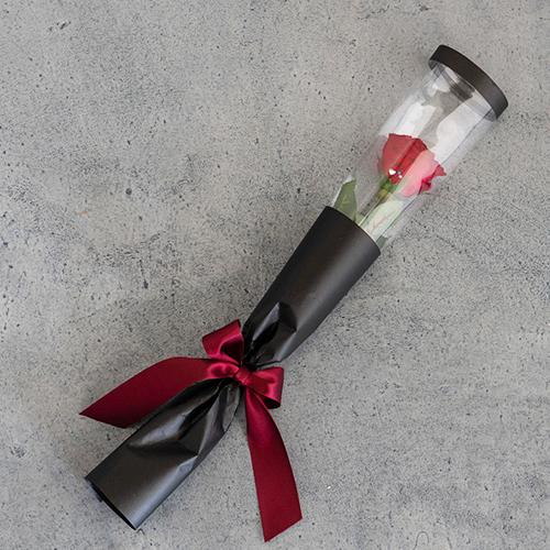 【バラ一輪】プリザーブドフラワーローズ(専用バッグ付き)≪レッド≫