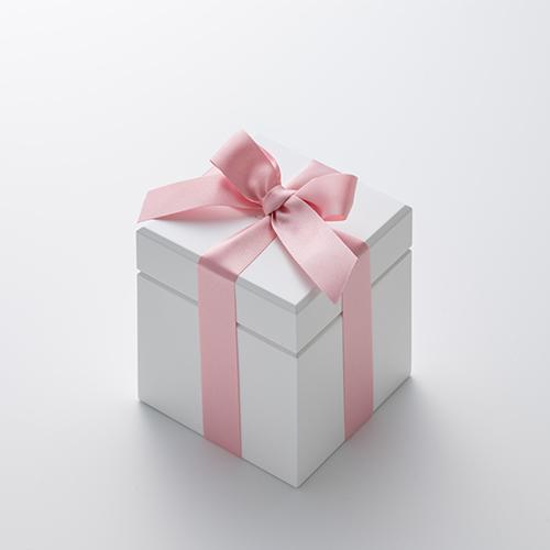 ミニ高級ホワイトオルゴール リングケース≪ピンク≫