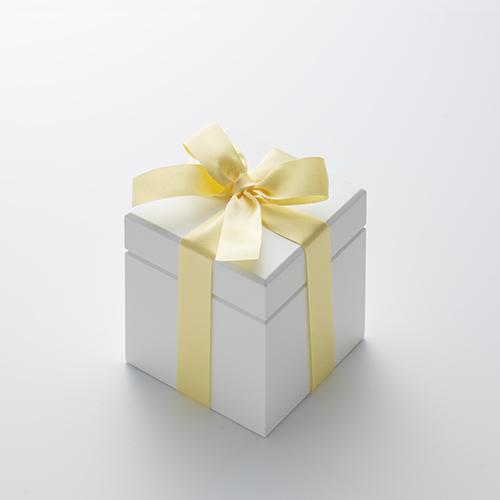 ミニ高級ホワイトオルゴール リングケース≪イエロー≫