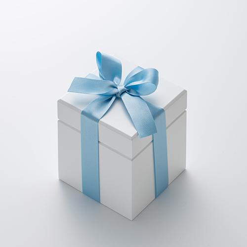 ミニ高級ホワイトオルゴール リングケース≪ブルー≫