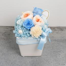 【花に記念日プリント】パステルプリザーブドフラワーアレンジL≪ブルー≫
