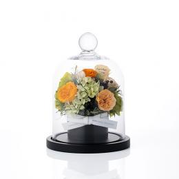【花に記念日プリント】フラワードームアレンジメント オレンジS