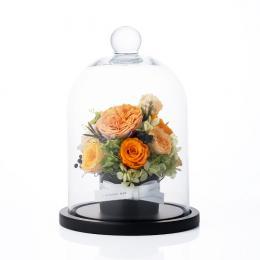 【花に記念日プリント】フラワードームアレンジメント オレンジM