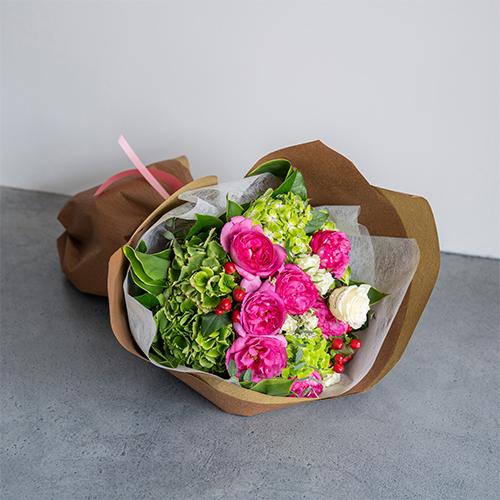 【花に記念日プリント】季節のブーケ ピンク Lサイズ
