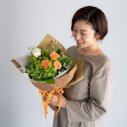 【花に記念日プリント】季節のブーケ オレンジ Sサイズ