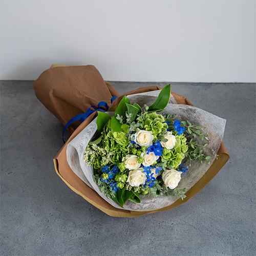 【花に記念日プリント】季節のブーケ サムシングブルー Lサイズ